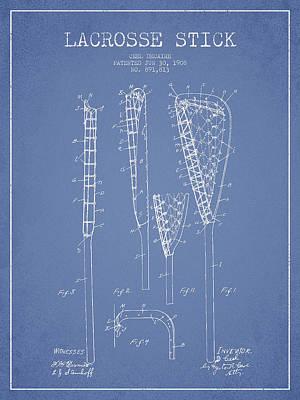 Goalie Digital Art - Vintage Lacrosse Stick Patent From 1908 by Aged Pixel