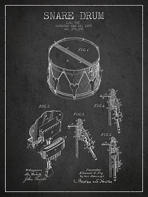 Drum Digital Art - Vintage Snare Drum Patent Drawing From 1889 - Dark by Aged Pixel