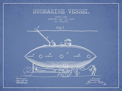 Boat Digital Art - Vintage Submarine Vessel Patent From 1897 by Aged Pixel