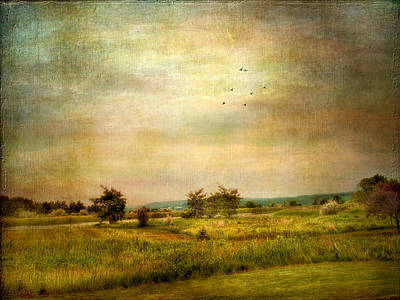 Rural Digital Art - Vintage Valley View by Jessica Jenney