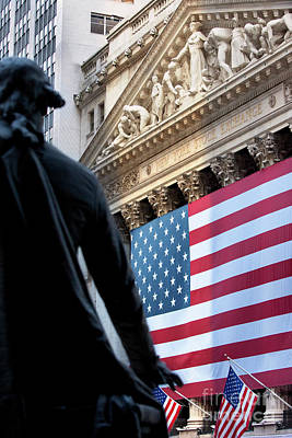 Nyse Photograph - Wall Street Flag by Brian Jannsen