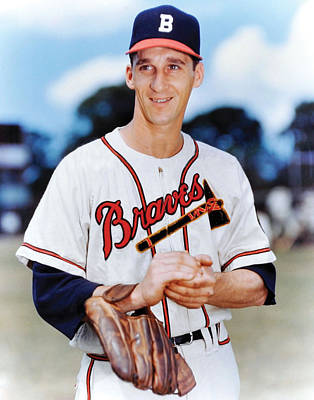 Hand Thrown Photograph - Warren Spahn by Retro Images Archive
