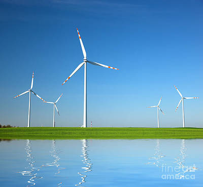 Air Photograph - Wind Turbines by Michal Bednarek