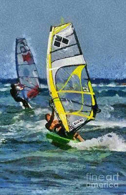 Windy Painting - Windsurfing by George Atsametakis