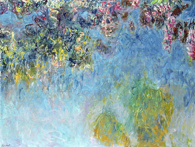 In Bloom Painting - Wisteria by Claude Monet