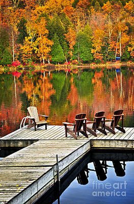 Muskoka Photograph - Wooden Dock On Autumn Lake by Elena Elisseeva