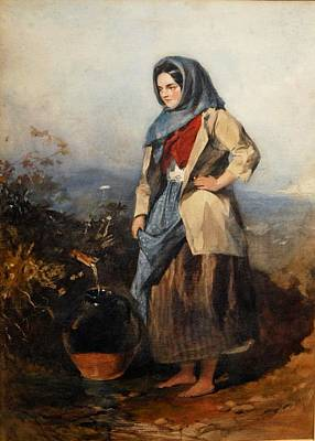 Water Pitcher Painting - Girl With A Pitcher by Paul Falconer Poole