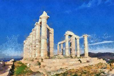 Pillar Painting - Poseidon Temple by George Atsametakis