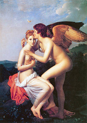 Psyche Receiving The  First Kiss Of Love Print by Baron Francois Gerard