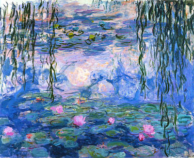 Blue Painting - Water Lilies  by Celestial Images