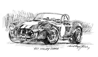 Cobra Drawing - 427 Shelby Cobra by David Lloyd Glover