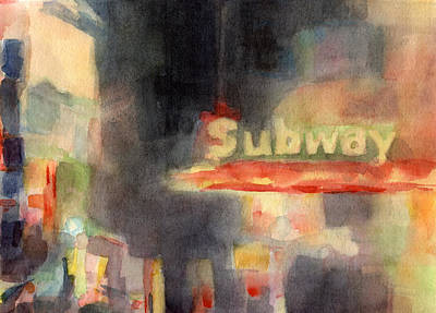 Night Scenes Painting - 42nd Street Subway Watercolor Painting Of Nyc by Beverly Brown Prints