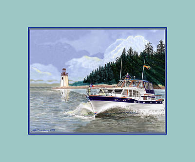 Seattle Drawing - 43 Foot Tollycraft Southbound In Clovos Passage by Jack Pumphrey