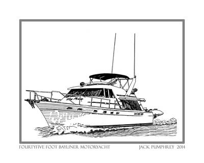 Pen And Ink Drawing Photograph - 45 Foot Bayliner Motoryacht by Jack Pumphrey