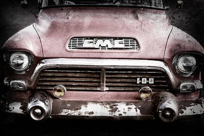 1957 Gmc V8 Pickup Truck Grille Emblem Print by Jill Reger