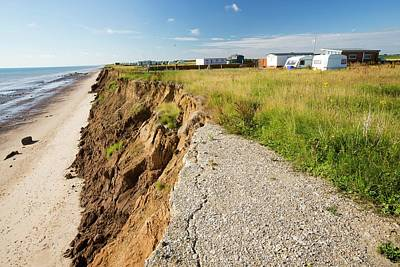 A Collapsed Coastal Road At Skipsea Print by Ashley Cooper