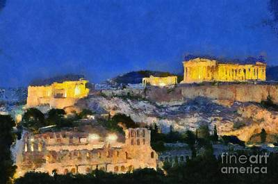 Acropolis Of Athens During Dusk Time Print by George Atsametakis