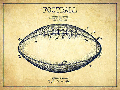 American Football Patent Drawing From 1939 Print by Aged Pixel