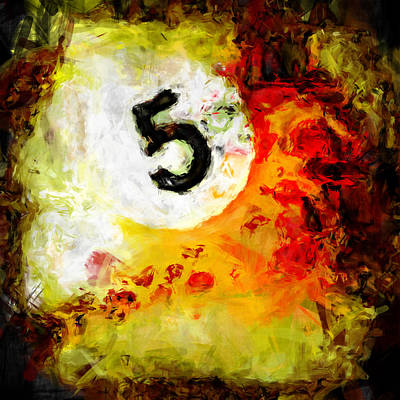 Numbers Digital Art - 5 Ball Billiards Abstract by David G Paul