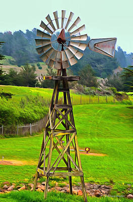 Simeon Painting - Painting San Simeon Pines Windmill by Barbara Snyder