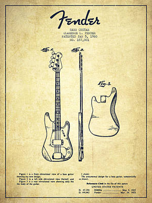 Smallmouth Bass Digital Art - Bass Guitar Patent Drawing From 1960 by Aged Pixel