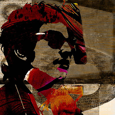 Bob Dylan Mixed Media - Bob Dylan Recording Session by Marvin Blaine