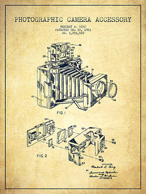 Camera Digital Art - Camera Patent Drawing From 1963 by Aged Pixel
