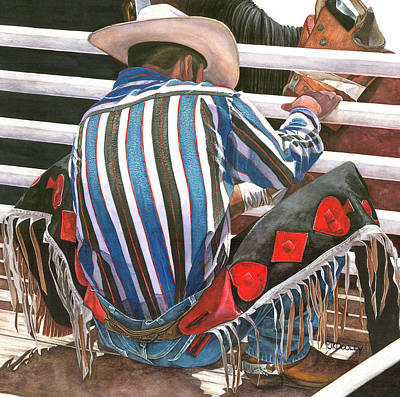 Cowboy Hat Painting - 5 Card Stud by JK Dooley