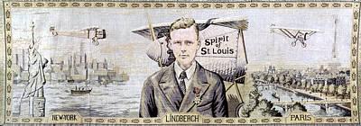 Liberty Painting - Charles Lindbergh (1902-1974) by Granger
