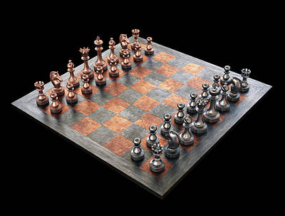 Chess Board And Pieces Print by Ktsdesign