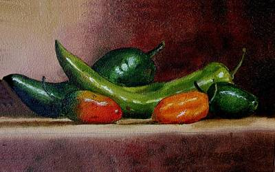 Italian Wine Painting - 5 Chilies by Jan Brieger-Scranton