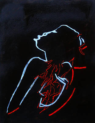 Dinka Wedding Painting - Dinka Silhouette - South Sudan by Gloria Ssali