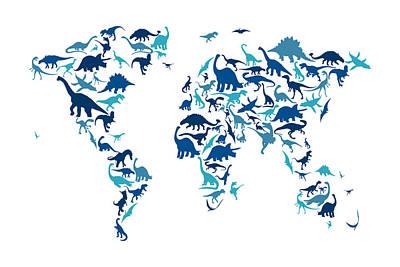 Dinosaur Map Of The World Map Print by Michael Tompsett