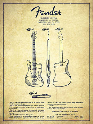 Music Drawing - Electric Guitar Patent Drawing From 1959 by Aged Pixel