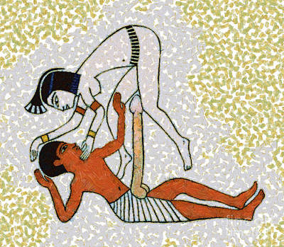 Couple Mixed Media - erotic art of ancient Egypt by Michal Boubin