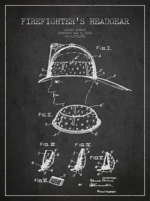 Firefighter Headgear Patent Drawing From 1926 Print by Aged Pixel