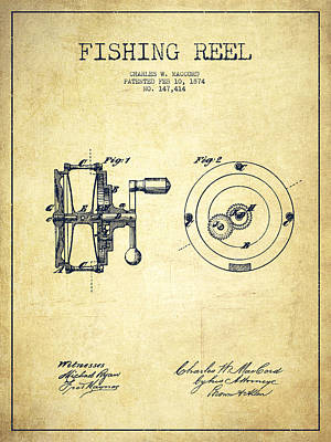 Fly Fishing Drawing - Fishing Reel Patent From 1874 by Aged Pixel