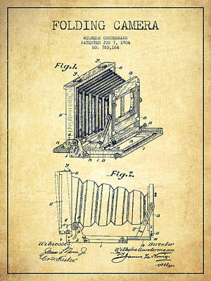 Film Camera Digital Art - Folding Camera Patent Drawing From 1904 by Aged Pixel
