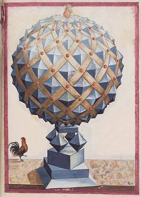 Geometric Painting - Geometric Perspective  16th Century Anonymous Paper Manuscript by Celestial Images