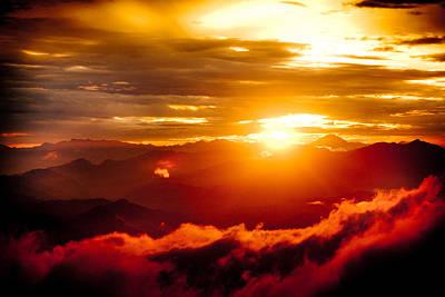 Golden Sunset Himalayas Mountain Nepal Print by Raimond Klavins