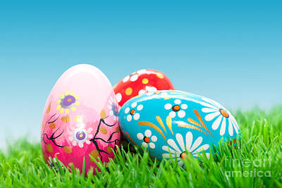 Decorate Photograph - Handmade Easter Eggs On Grass by Michal Bednarek