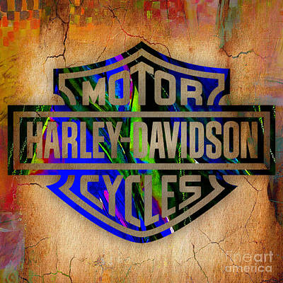 Cycles Mixed Media - Harley Davidson Cycles by Marvin Blaine