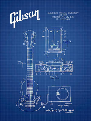 Acoustic Guitar Digital Art - Hart Gibson Electrical Musical Instrument Patent Drawing From 19 by Aged Pixel