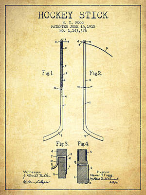 Hockey Games Drawing - Hockey Stick Patent Drawing From 1915 by Aged Pixel