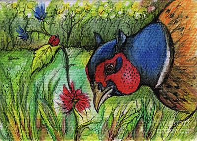 Pheasant Drawing - In My Magic Garden by Angel  Tarantella