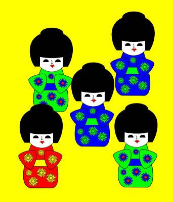 5 Japanese Dolls On Yellow Print by Asbjorn Lonvig