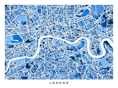 United Kingdom Map Digital Art - London England Street Map by Michael Tompsett