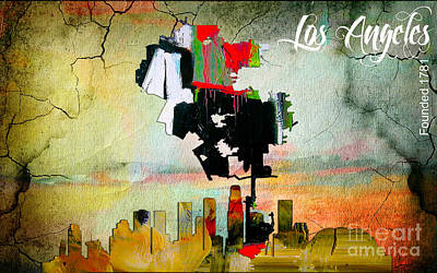 Los Angeles Map Mixed Media - Los Angeles Map And Skyline by Marvin Blaine