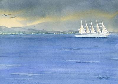 5 Masted Schooner Original by Marsha Elliott