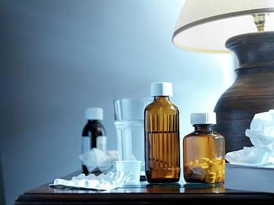 Bedside Table Photograph - Medicines by Tek Image